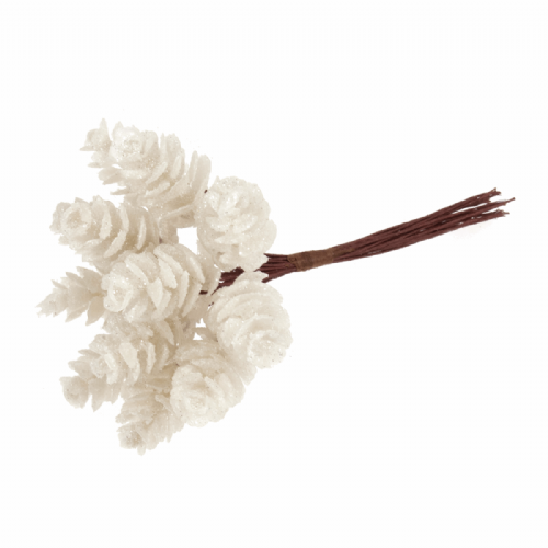 Pinecones Glitter 12 x 12 Stems White